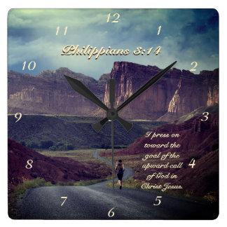 I press on toward the goal Philippians 3:14 Bible Square Wall Clock