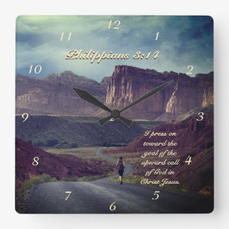 I press on toward the goal Philippians 3:14 Bible Wall Clock