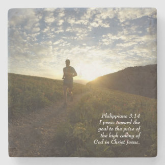 I Press Toward the Goal Philippians 3:14 Scripture Stone Coaster