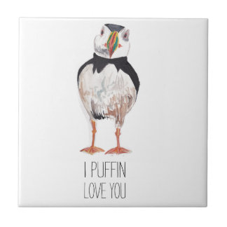 I Puffin Love You Puffin Message Ceramic Tiles