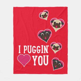 I Puggin' Love You Valentine Fleece Blanket Red
