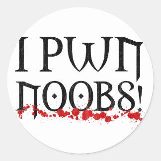 i pwn noobs round sticker
