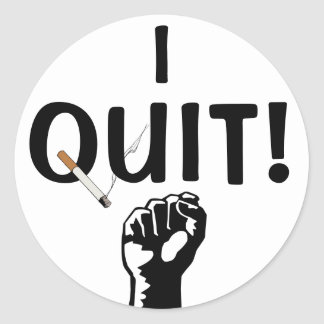 I Quit! Smoking Classic Round Sticker