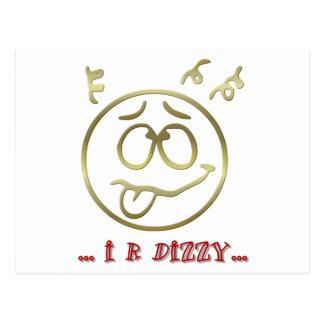 """"""" I R DIZZY """" EMOTICON POSTCARD"""