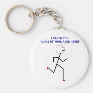 I ran in the... basic round button keychain