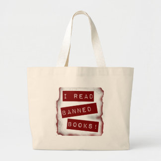 I read banned books! large tote bag