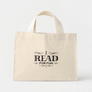 I Read For Fun Mini Tote Bag (black design)
