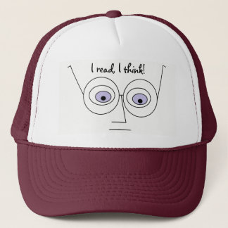 I read I think Cool Face Wearing Glasses Trucker Hat