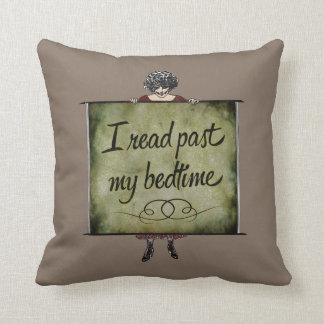 I Read Past My Bedtime Vintage Throw Pillow