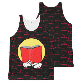 I ❤ reading - emoticon - red & black All-Over-Print tank top