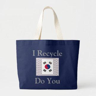 I Recycle Do You South Korea Large Tote Bag