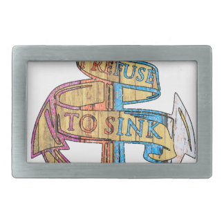 """I Refuse to Sink"" Quote Nautical Anchor Belt Buckle"