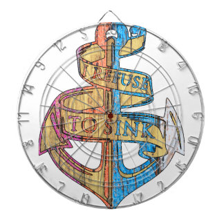 """I Refuse to Sink"" Quote Nautical Anchor Dartboard"