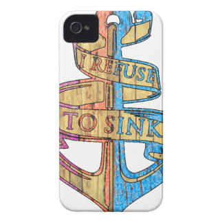 """""""I Refuse to Sink"""" Quote Nautical Anchor iPhone 4 Cover"""