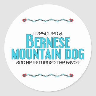I Rescued a Bernese Mountain Dog (Male Dog) Round Sticker
