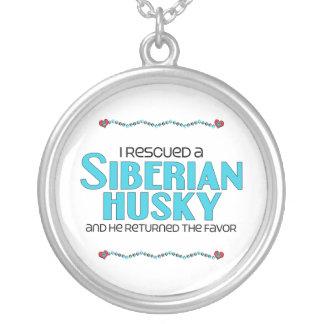 I Rescued a Siberian Husky (Male Dog) Round Pendant Necklace