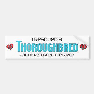 I Rescued a Thoroughbred (Male Horse) Bumper Sticker