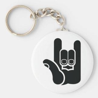 I rock basic round button keychain