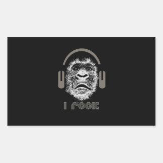 I Rock Gorilla Wearing Headphones Sticker