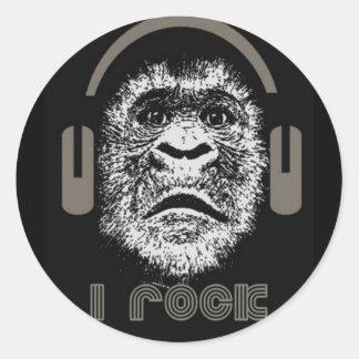 I Rock Gorilla Wearing Headphones Round Stickers