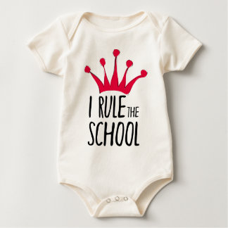 """I rule the school"" sign with pink crown, Baby Bodysuit"