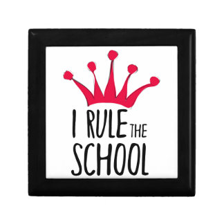 """I rule the school"" sign with pink crown, Gift Box"