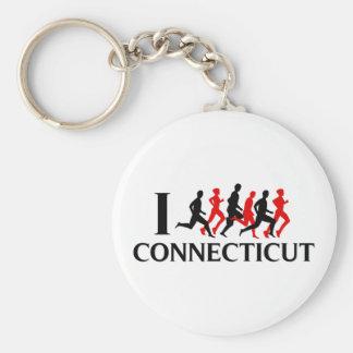 I RUN CONNECTICUT BASIC ROUND BUTTON KEYCHAIN