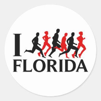 I RUN FLORIDA ROUND STICKER