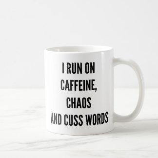 I run on caffeine chaos and cuss words Christmas Coffee Mug