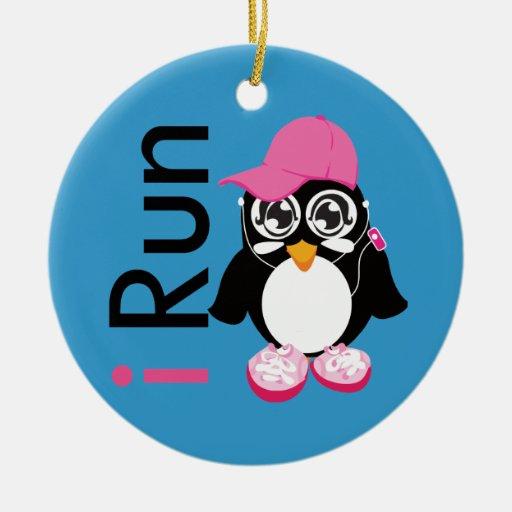 i Run Penguin Round Ceramic Ornament