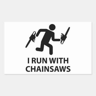 I Run With Chainsaws Sticker