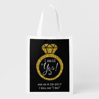 I Said Yes! Faux-Glitter Gold Ring Bride-To-Be Bag