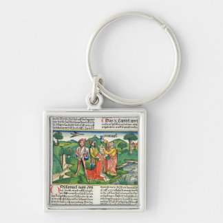 I Samuel 10 The coronation and annointing of Saul, Silver-Colored Square Keychain