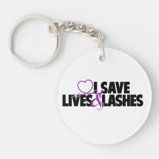I save lives and lashes Single-Sided round acrylic keychain