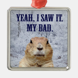 I Saw It Groundhog Day Metal Ornament