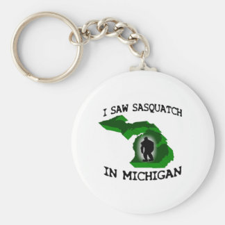 I Saw Sasquatch In Michigan Basic Round Button Keychain
