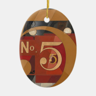 I Saw the Figure 5 in Gold Ceramic Oval Ornament