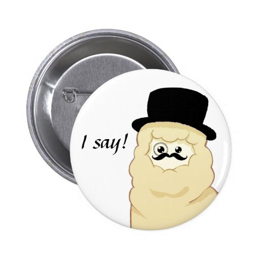 I say! Cute Gentleman Alpaca Pinback Buttons