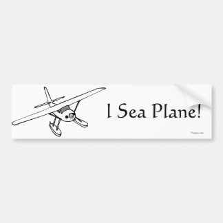 I Sea Plane Bumper Sticker (B&W)