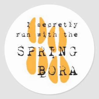 I secretly run with the SPRING BORA Classic Round Sticker