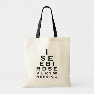 I See Birds Eyechart Tote Bag