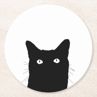 I See Cat Click to Select Your Color Decor Option Round Paper Coaster