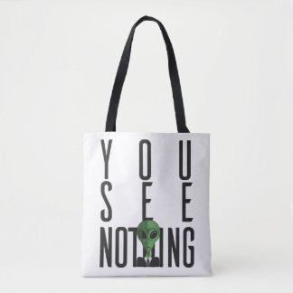 I See Nothing w/ Green Alien on a Suit Tote Bag