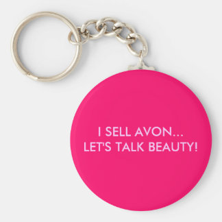 I SELL AVON...LET'S TALK BEAUTY! BASIC ROUND BUTTON KEYCHAIN