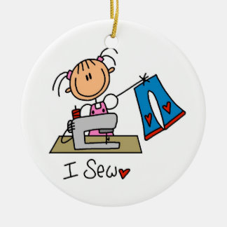 I Sew Ceramic Ornament