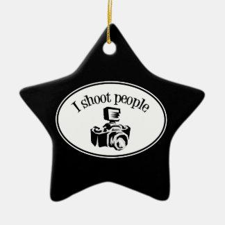 I Shoot People Retro Photographer's Camera B&W Ceramic Star Ornament
