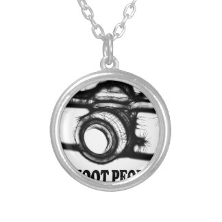 I shoot people silver plated necklace