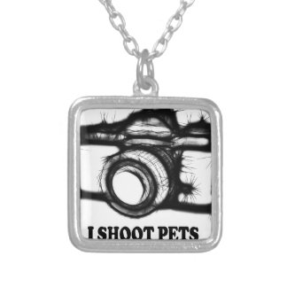 I shoot pets silver plated necklace