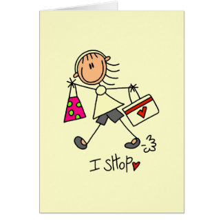 I Shop Stick Figure Girl Card