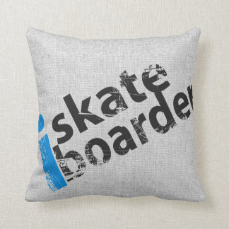 i SkateBoarder Grunge Text Pillow LT Blue Grey